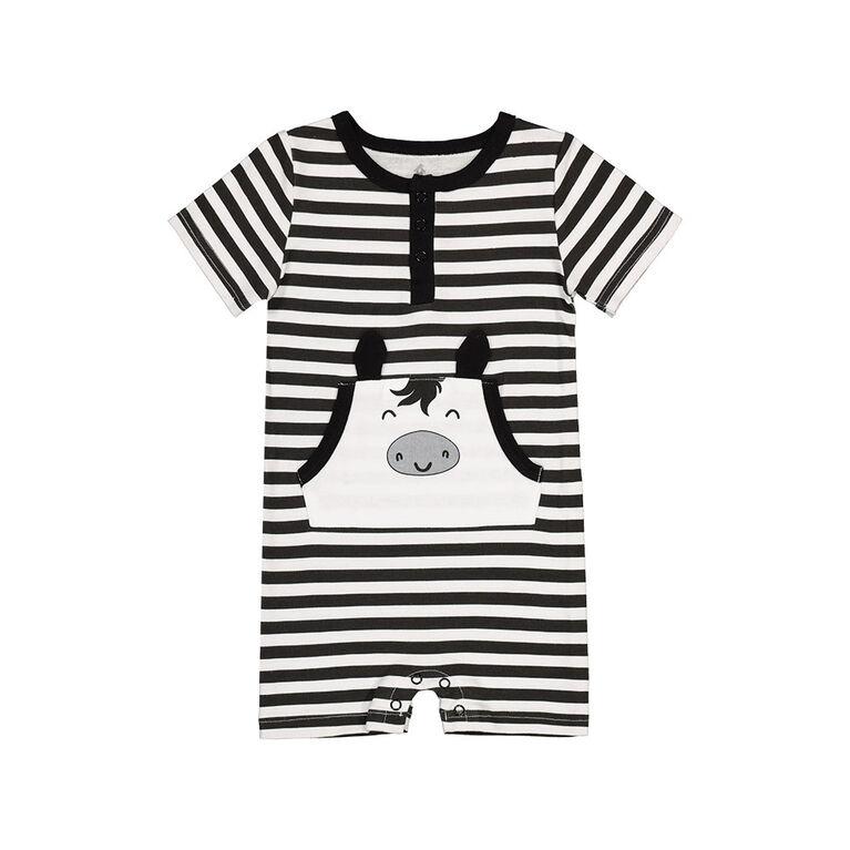 Snugabye Garcons - Chemise henlet avec poche kangourou -  licorne rayures noir et blanc 12-18 mois