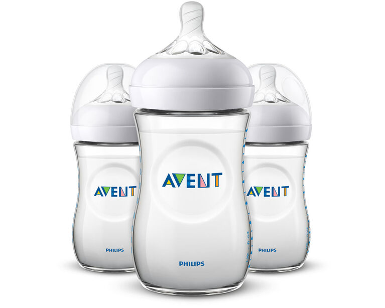 Philips Avent Natural Baby Bottle, 9oz, 3-Pack - Clear