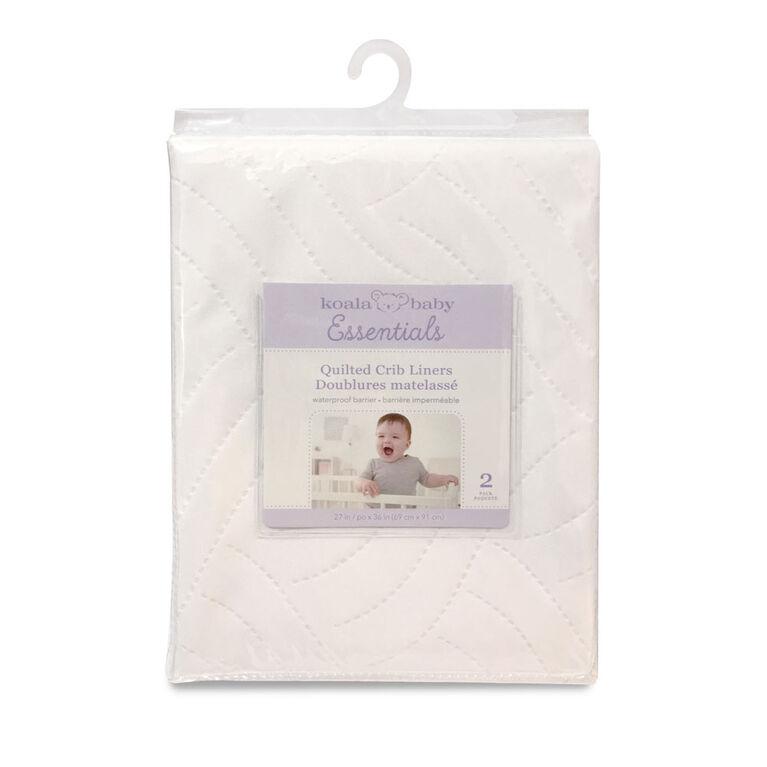 Alèse En Polyester Imperméable Pour Lit De Bébé Emballage De 2 - 27 Po X 36 Po (68 X 91 Cm) - Blanc Koala Baby.