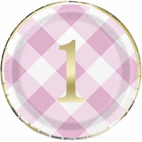 "Pink Gingham 1st Bday 9""  Plates 8 pieces"