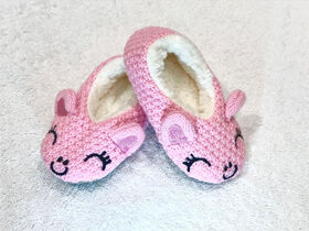 Tickle Toes - Pink  Knit Slippers - 0-6 Months
