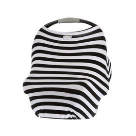 Itzy Ritzy Mom Boss 4-in-1 Multi-Use Cover - Black and White Stripe - English Edition