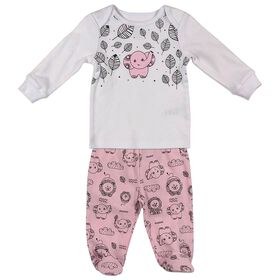 Fisher-Price 2-Piece Footed Sleeper Set - Pink, 3 Months