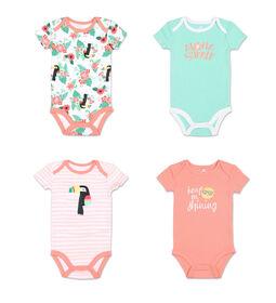 Koala Baby 4Pk Short Sleeved Bodysuit, G Aloha Summer, Newborn