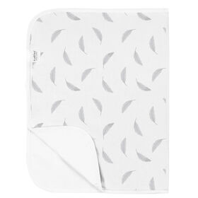 Kushies Portable Changing Pad Liner Flannel Grey Feathers