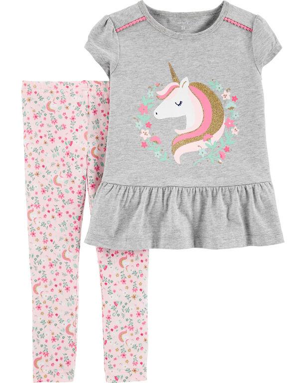 Carter's 2-Piece Unicorn Peplum Top & Floral Legging Set - Grey/Pink, 24 Months