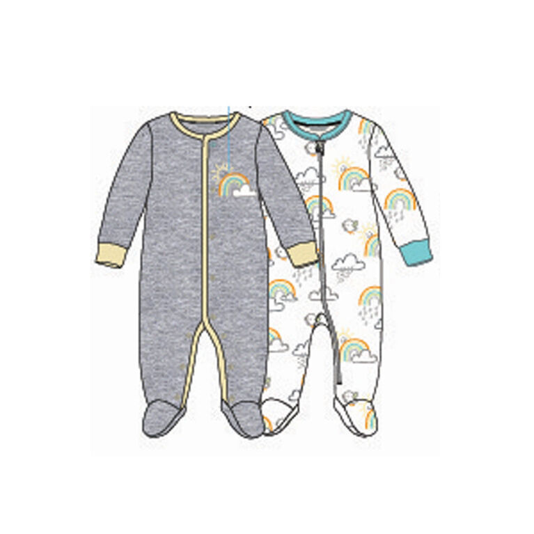 Koala Baby Unisex2-Pack Sleeper- 'Rainbow' Grey,Yellow  Preemie