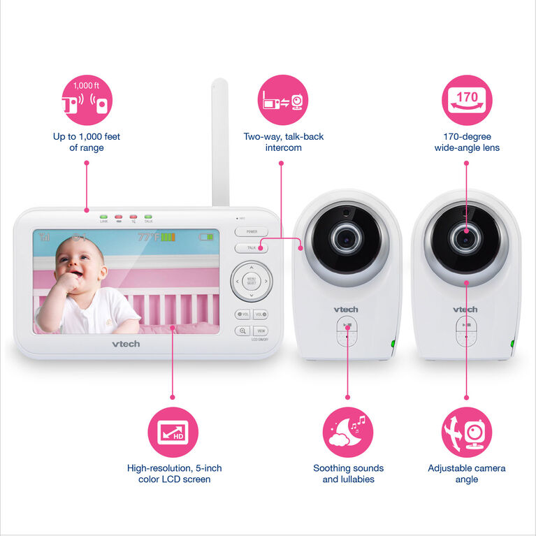 VTech VM351-2 - 2 Camera Full Colour Video Monitor with Wide Angle Lens and Standard Lens - R Exclusive