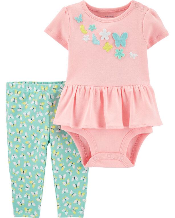 Carter's 2-Piece Butterfly Peplum Bodysuit Pant Set - Pink/Mint, 9 Months