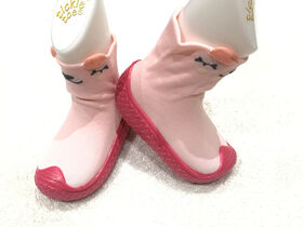 Tickle toes - Dark Pink Sole & Light Pink Socks with 3D Bear Skids Proof Shoes 18-24 Months