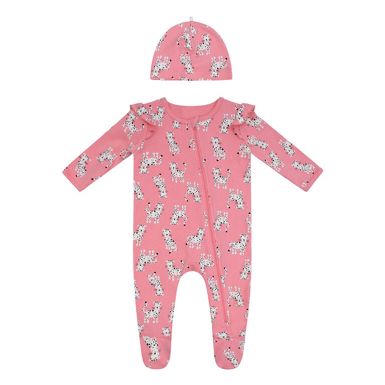 PL Baby Feline Fabulous Sleeper with Knit Hat Coral 9M