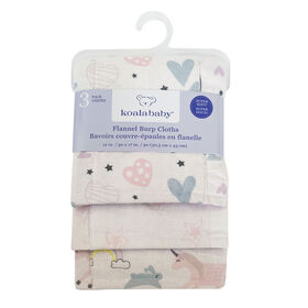 Koala Baby - Pink 3 Pack Burp Flannel