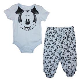 Disney Mickey Mouse ensemble panatalon 2 pièces - Bleu, 9 mois.