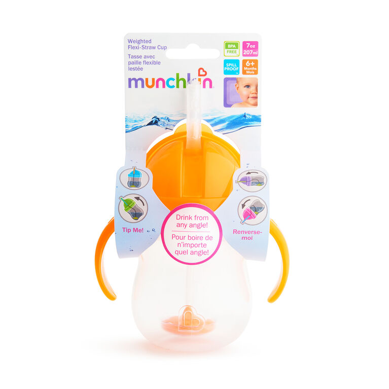 Munchkin Tasse d'apprentissage Flexi Straw Click Lock 7 oz - orange.