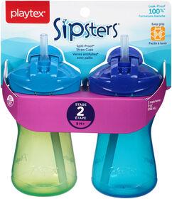 Playtex - Série En tout temps Emballage de 2 verre de 9 oz avec paille - bleu, styles peuvent varié.