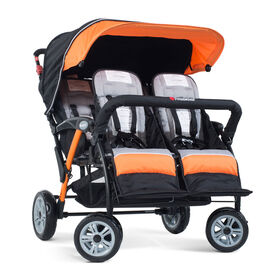 Foundations Splash of Colour Quad Sport 4 Passenger Stroller - Orange