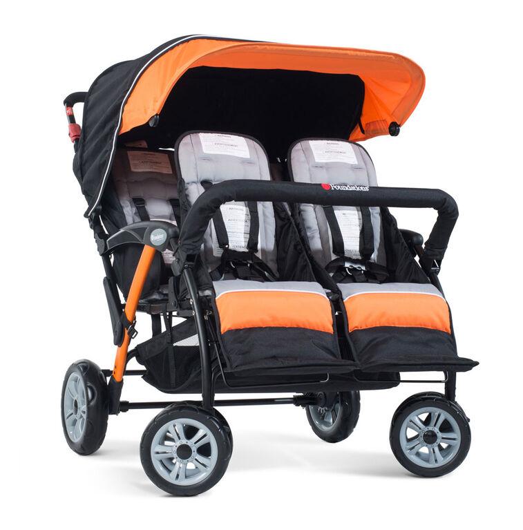 Foundations Splash of Colour Quad Sport 4 Passenger Stroller - Orange