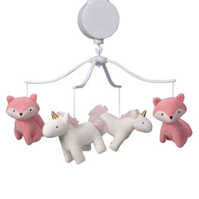 Bedtime Originals - Rainbow Unicorn Musical Baby Crib Mobile - Pink