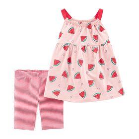 Carter's 2-Piece Watermelon Tank & Bike Short Set - Pink, 12 Months