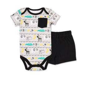 Koala Baby Safari Print Bodysuit/Short 2 Piece Set, 6-9 Months