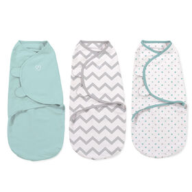 Summer Infant SwaddleMe - Couverture-sac originale - Petite - Ensemble de 3 - Zigzags, points multicolores.