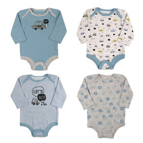 Rococo 4 Pk Bodysuit - Assorted colors, 0-3 Months