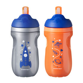 Tommee Tippee Insulated Straw Tumbler 2-Pack - Orange/Grey