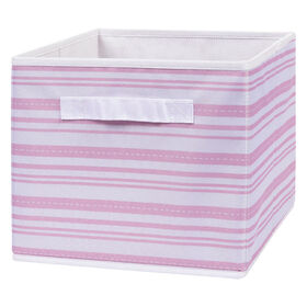 Pink Stripe Canvas Storage Bin