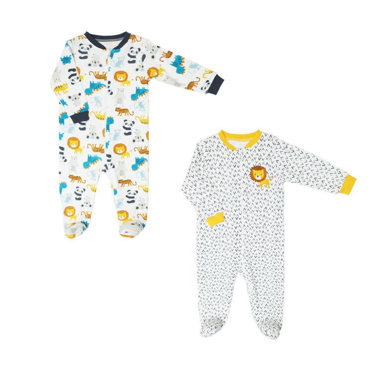Koala Baby Boys 2 Pack Sleeper - Lions Yellow, 9 Months