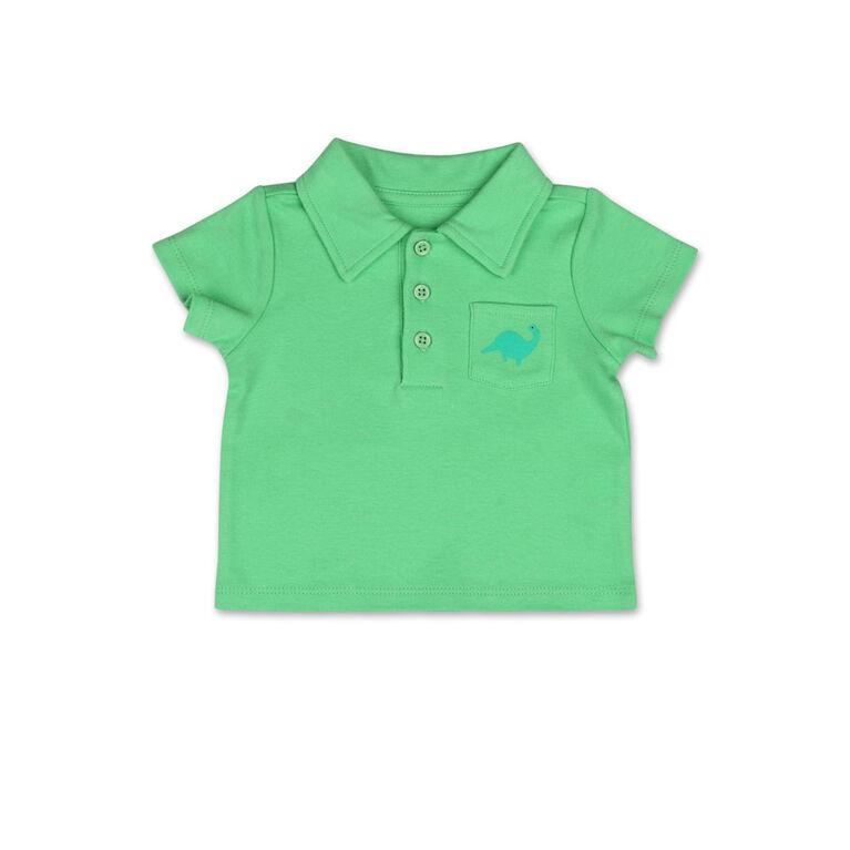 Koala Baby Short Sleeved Green Golf Shirt with Pocket Detail - 0-3 Months