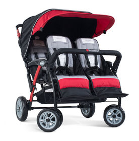 Foundations Splash of Colour Quad Sport 4 Passenger Stroller - Red