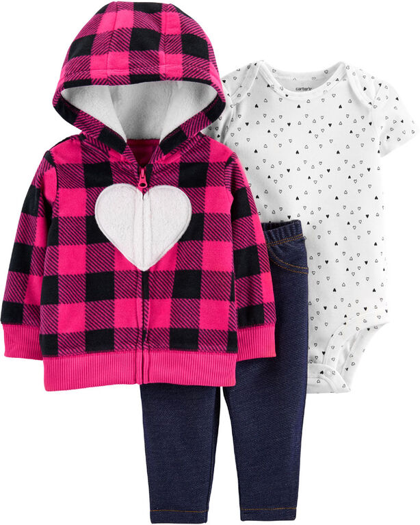 Carter's 3-Piece Heart Cardigan Set - Pink, Newborn