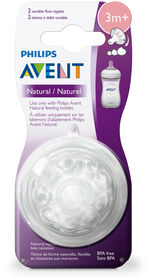 Philips Avent Natural Baby Bottle Nipple, Variflow Nipple 3M+ 2-Pack