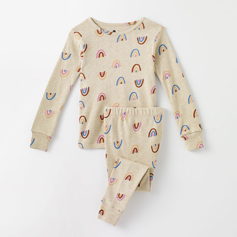 12-18m pyjama deux pièces à manches longues - imprimé avoine chiné