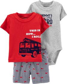 Carter's 3-Piece Firetruck Diaper Cover Set - Red, 3 Months