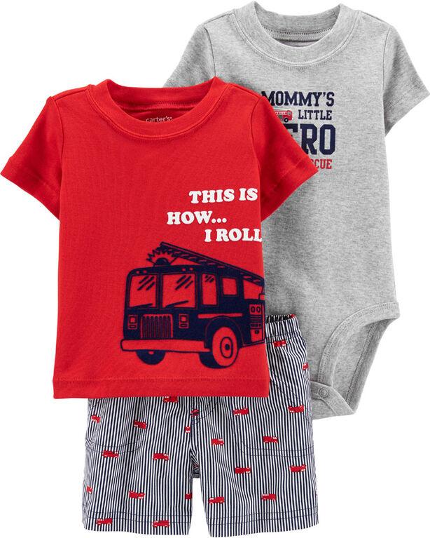Ensemble 3 pièces couvre-couche à camion d'incendie Carter's – rouge, 3 mois