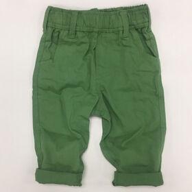 Coyote and Co. Pantalon en sergé à taille élastique - Vert cactus - de 3 à 6 mois.