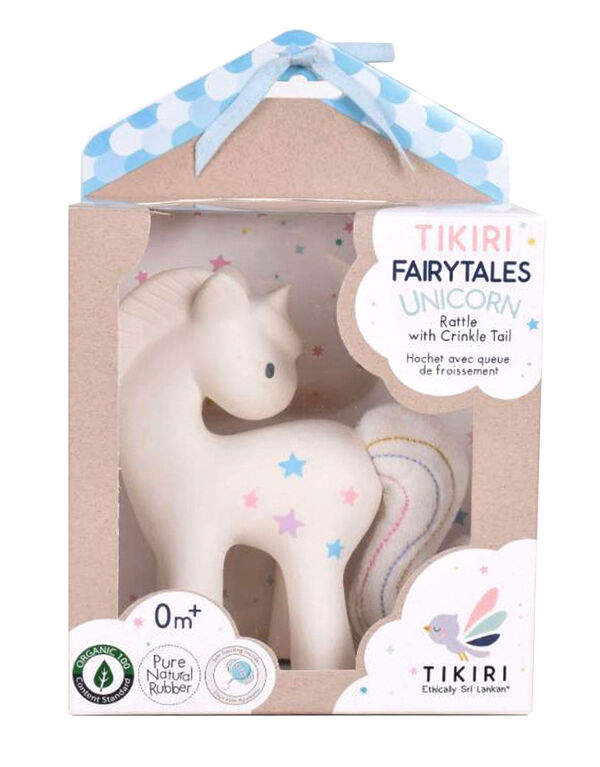 Tikiri Rubber Unicorn Rattle With Crinkle
