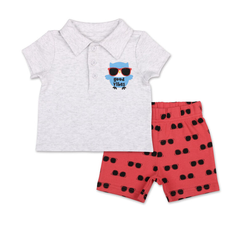 Koala Baby Good Vibes Golf Shirt/Printed Short 2 Piece Set, 12 Month