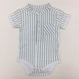 Coyote and Co. Green pin stripe white bodysuit - size 18-24 months
