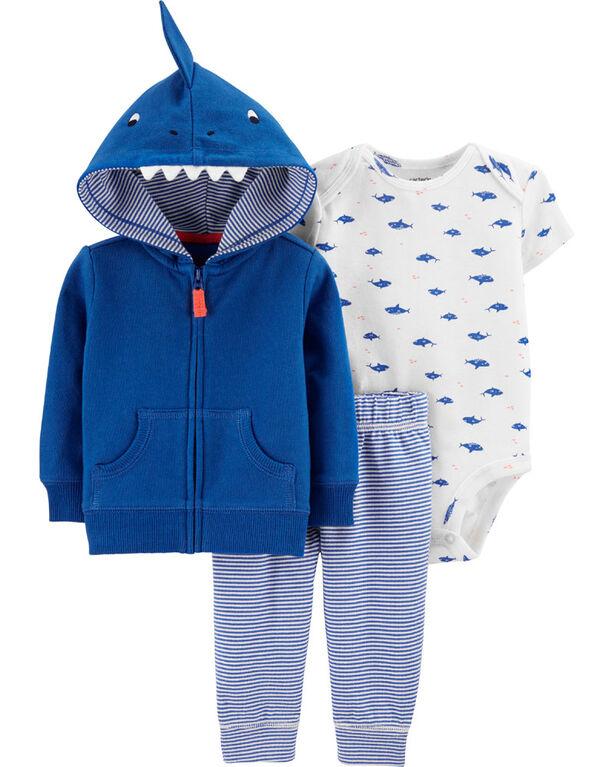 Carter's 3-Piece Shark Cardigan Set - Blue, 6 Months