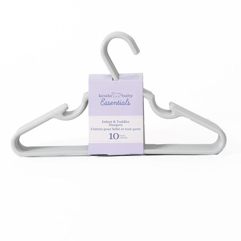 Koala Baby Essentials 10-Pack Infant & Toddler Hangers - Grey