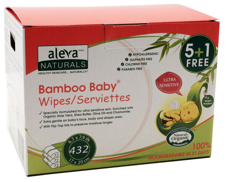 Aleva Naturals Bamboo Sensitive Wipes - 432 Count