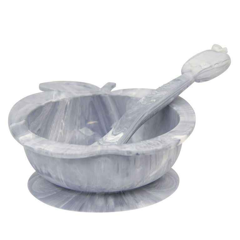 Kushies SiliBowl Silicone Bowl & Spoon Set - Marble