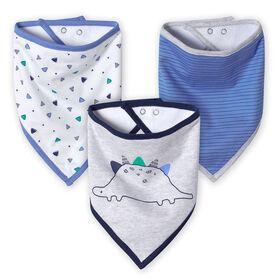 Just Born Baby Boys' 3-Pack Organic Bandana Bibs - Lil' Dino