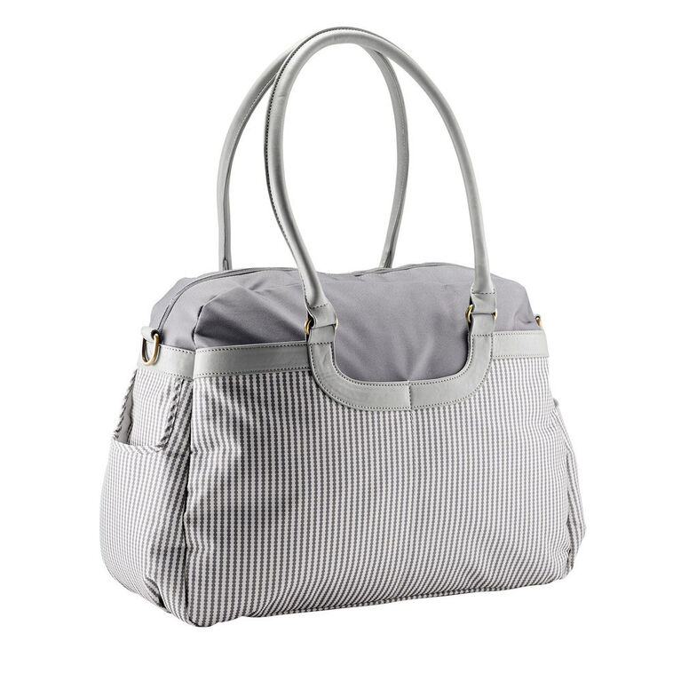 JJ Cole Satchel Baby Diaper Bag Grey Circle Stripe