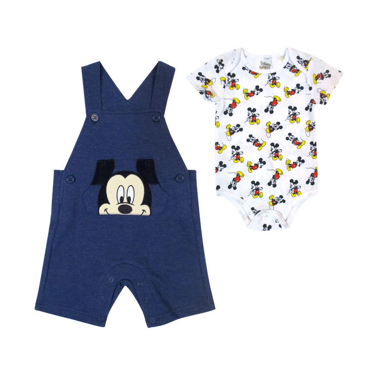 Disney Mickey Mouse ensemble Salopette courte 2 morceaux - Bleu, 3 mois