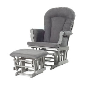Child Craft Forever Eclectic Cozy Glider and Ottoman, Cool Gray with Dark Gray Cushion