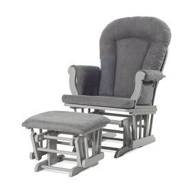 Chaise berçante et ottomane confortables Forever Eclectic de Child Craft, Gris froid avec coussin gris foncé.