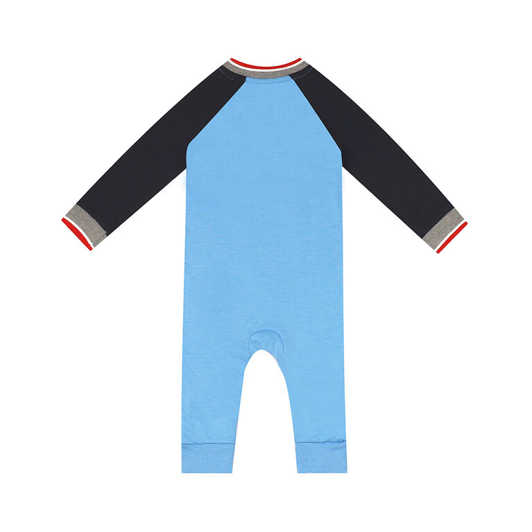 earth by art & eden - Caleb Coverall Raglan Coverall - Bluebell, 9 Months